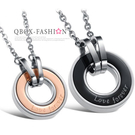 《 QBOX 》FASHION 飾品【W2014N816】精緻個性情侶戀愛圈扣鈦鋼墬子項鍊(男/女款)