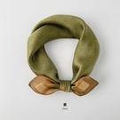 歐式暗紋印花氣質復古裝飾絲巾真絲韓國小方巾女春季時尚洋氣領巾一米