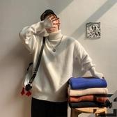 毛衣男大碼冬季純色百搭高領針織衫寬松上衣【左岸男裝】