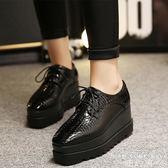厚底鞋 英倫方頭坡跟漆皮防水臺內增高