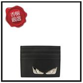 FENDI經典BUGS系列小毛怪造型小牛皮萬用票卡/證件名片夾(黑色)限量款7M0164全新商品