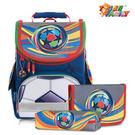 【TigerFamily】小貴族超輕量護脊書包-炫彩足球(含文具袋+鉛筆盒)