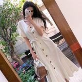 洋裝 復古氣質V領棉麻魚尾連身裙收腰繫帶過膝小眾荷葉邊裙 超值價
