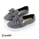 Paidal 灰織紋大蝴蝶結懶人鞋厚底休閒鞋