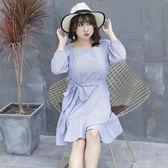 中大尺碼~優雅泡泡袖長袖連衣裙(XL~4XL)