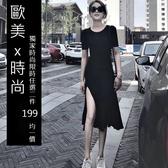 克妹Ke-Mei【AT58955】歐美暗黑BF風辛辣修身開叉中長連身洋裝