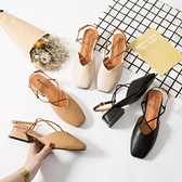包頭涼鞋女夏季新款中跟復古方頭奶奶鞋一字扣粗跟仙女高跟鞋 瑪麗蘇