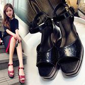 Dingle丁果大尺碼ღ真皮鏤空厚底楔形涼鞋*3色