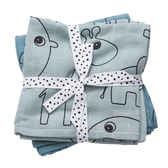 丹麥 DONE BY DEER 100%純棉嬰兒包巾(小象-兩件組) 藍色