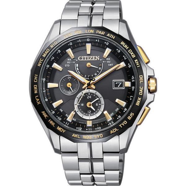 【台南 時代鐘錶 CITIZEN】星辰 電波光動能鈦金屬旗艦級腕錶 AT9095-50E 黑金 42mm