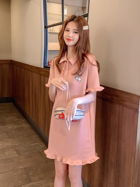 木耳邊短袖小清新polo連身裙夏季中長款刺繡2019流行粉色t恤裙子