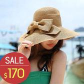 草帽 雙層蝴蝶結 度假 沙灘帽 遮陽帽 草帽【CF045】 BOBI  夏天就是要