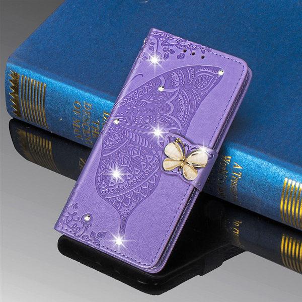三星 S20 FE S20+ S20 Ultra 磁扣水晶蝴蝶 手機皮套 掀蓋殼 插卡 支架 可掛繩 保護套