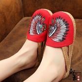 創意款民族風繡花鞋女布鞋特色印第安人刺繡懶人拖鞋涼鞋