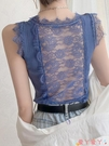 蕾絲上衣性感鏤空蕾絲美背冰絲針織背心女夏季內搭修身無袖上衣外穿打底衫 愛丫