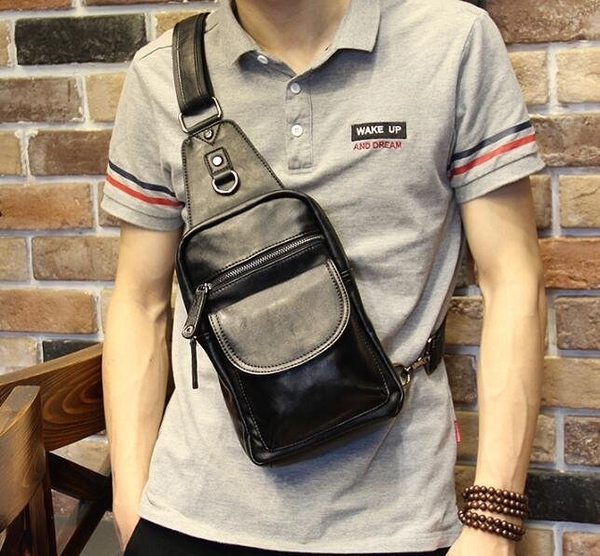 FINDSENSE Z1 韓國 時尚 潮 男 豎款 黑色 單肩包 手機包 斜挎包