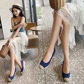 帆布鞋 坡跟漁夫鞋女四季帆布正韓百搭高跟鞋一腳蹬單鞋草編-Ballet朵朵