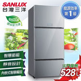 【SANLUX台灣三洋】528L 無邊框采晶玻璃三門直流變頻冰箱。星光銀  SR-C528CVG