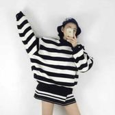 EASON SHOP(GT7991)韓國秋季簡約復古文青基本款歐美風黑白拼色橫條紋小高領長袖寬鬆大學T恤上衣