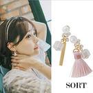 耳環 復古風潮 不對稱日韓系小流蘇珍珠水晶 垂吊式長款耳飾耳環【1DDE0093】