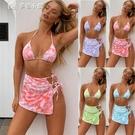 比基尼新款扎染三件套泳衣女士分體泳裝歐美爆款沙灘性感比基尼熱賣 快速出貨