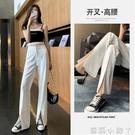 前開叉褲子女春款女裝2021年新款寬松高腰直筒垂感拖地西裝闊腿褲 蘿莉新品