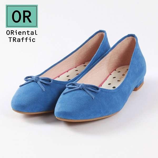 【ORiental TRaffic】俏皮綁帶方頭芭蕾舞鞋-清新藍