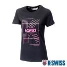 【超取】K-SWISS Stripe K Logo Tee棉質吸排T恤-女-黑