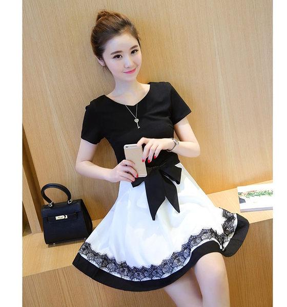 【Fabulous!!】質感黑與白蝴蝶結修身蕾絲點綴洋裝