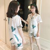 睡衣女夏季冰絲短袖兩件套裝青瓜真絲綢韓版清新學生可外穿家居服 優帛良衣