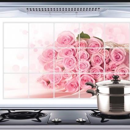 廚房壁貼 防油 防水【粉紅浪漫 】貼紙 防油貼【A5105】