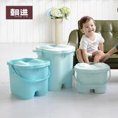 加高養生足浴桶帶蓋按摩泡腳桶足浴盆塑料洗腳桶洗腳盆家用高深桶 安妮塔小舖