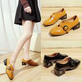 豆豆鞋女新款女鞋韓版百搭方頭粗跟厚底皮帶扣單鞋樂福鞋  朵拉朵衣櫥