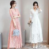 長袖洋裝 秋季新款韓版女裝修身長款蕾絲裙顯瘦時尚過膝連身裙 EY4875『M&G大尺碼』