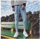 中大尺碼 2017新款韓版個性破洞百搭薄款小腳褲子SQ895『伊人雅舍』