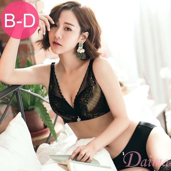 【黛瑪Daima】玩色交叉(B~D)無鋼圈深溝全蕾絲美背包覆(內衣+內褲)-黑