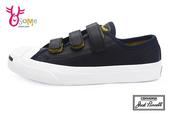 Converse帆布鞋 中童款 Jack Purcell 3V系列 開口笑 魔鬼氈帆布鞋H9872#黑白◆OSOME奧森鞋業