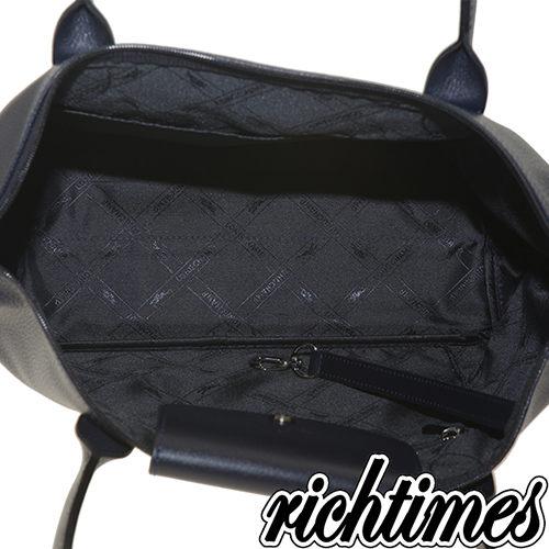 【裕代 LONGCHAMP】深藍皮革水餃手提包(大)LC0C2629