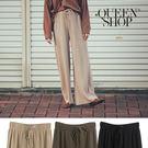 Queen Shop【04070053】抽繩鬆緊設計針織坑條寬褲 三色售*現+預*