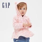 Gap嬰兒 LOGO荷葉邊飾開襟熊耳連帽衫 593695-淡粉色
