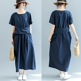 連身裙-短袖簡約純色寬腰帶休閒女洋裝2色73te16【巴黎精品】