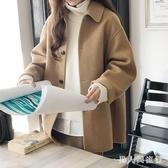 駝色學生森女系羊絨呢子大衣短款小個子2019冬季新款寬鬆毛呢外套 DR31620【男人與流行】