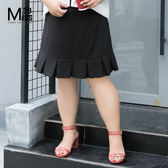 Miss38-(現貨)【A04506】百摺裙黑 顯瘦荷葉邊 鬆緊腰 大尺碼短裙 半身裙 及膝裙- 大尺碼女裝