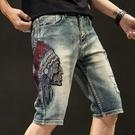 休閒短褲 夏季破洞刺繡牛仔短褲男薄款修身復古做舊五分牛仔中褲男生潮馬褲