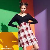 【SHOWCASE】俏麗交叉大V領高腰百褶格紋短版洋裝(紅)