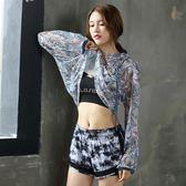新款瑜伽服套裝三件套跑步衣服緊身褲健身房專業顯瘦褲 GB4495『M&G大尺碼』