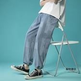 垂感闊腿牛仔褲男寬鬆直筒設計感抽繩束腳九分褲【聚物優品】