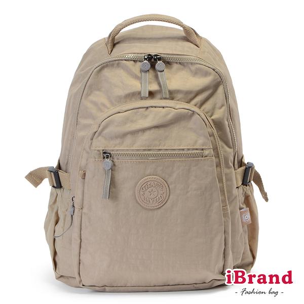【i Brand】簡約素色超輕盈尼龍口袋後背包-卡其色 TGT-983-KH