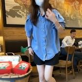藍色牛仔襯衫女短袖設計感小眾垂感襯衣女夏季薄款上衣赫本風套裝 安妮塔小鋪