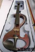 高檔手工電子小提琴 初學者可練習可演奏電提琴 酒紅色 4/4電子小提琴【潮咖範兒】